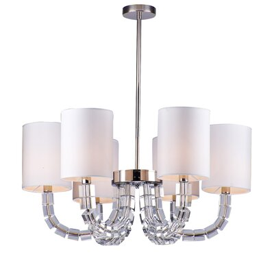 Block Arm 6-Light Crystal Chandelier