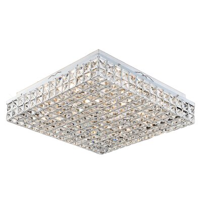 Aguinaldo Square Crystal Beaded 9-Light Flush Mount