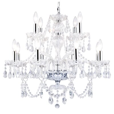 Two Tier 12-Light Crystal Chandelier