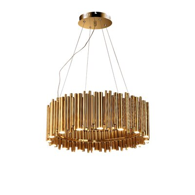 Rod Fixture 16-Light LED Drum Chandelier Finish: Gold