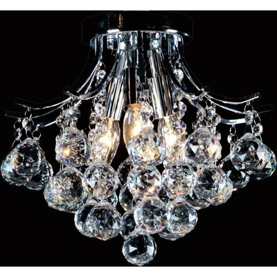 Crystal Ball Drop 3-Light Flush Mount