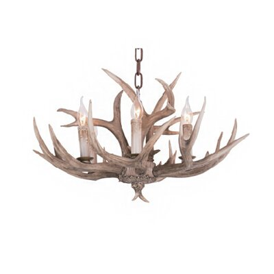 Polyresin Antler 6-Light Candle-Style Chandelier