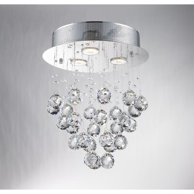 Crystal Ball Drop 3-Light Semi Flush Mount
