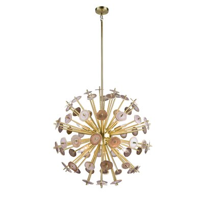 10-Light Geometric Pendant Finish: Satin Brass