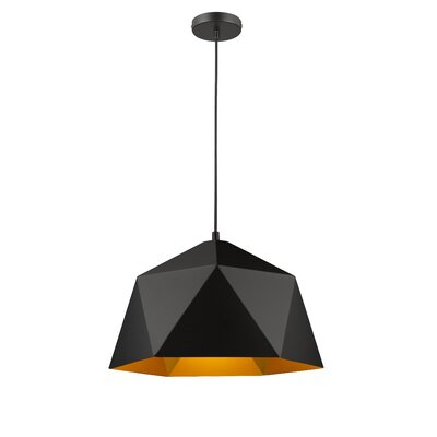 Bigler 1-Light Inverted Pendant Size: 68.8 H x 18 W x 18 D, Finish: Black/Gold