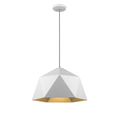 Bigler 1-Light Inverted Pendant Size: 68.8 H x 18 W x 18 D, Finish: White/Silver
