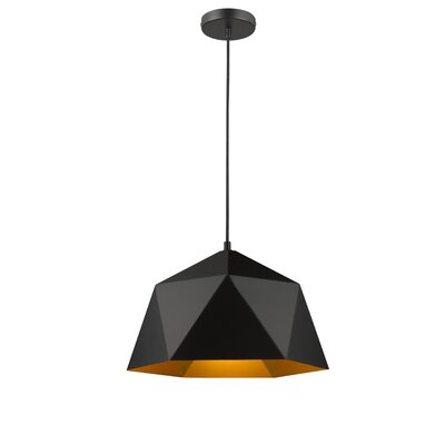 Bigler 1-Light Inverted Pendant Size: 68 H x 14.9 W x 14.9 D, Finish: Black/Gold