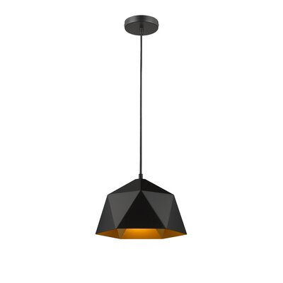 Bigler 1-Light Inverted Pendant Size: 64.9 H x 10.2 W x 10.2 D, Finish: Black/Gold