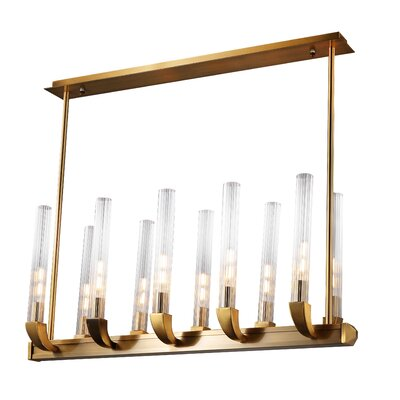 Kelley 10-Light Kitchen Island Pendant Finish: Golden Brass