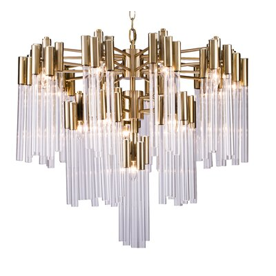 Kelsch Glass Tube 16-Light Crystal Chandelier Finish: Gold