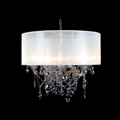 Eisley Champagne Crystal 6-Light Drum Chandelier