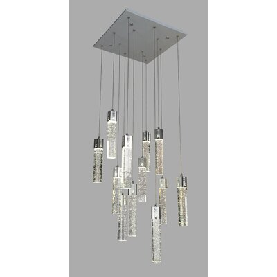 Baylor Crystal Square 12-Light LED Cluster Pendant