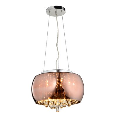 Brucelyn Glass Shade 5-Light Drum Chandelier