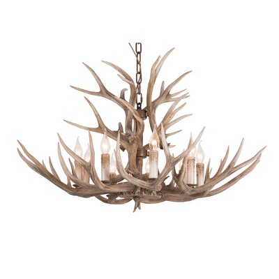 Polyresin Antler 9-Light Candle-Style Chandelier
