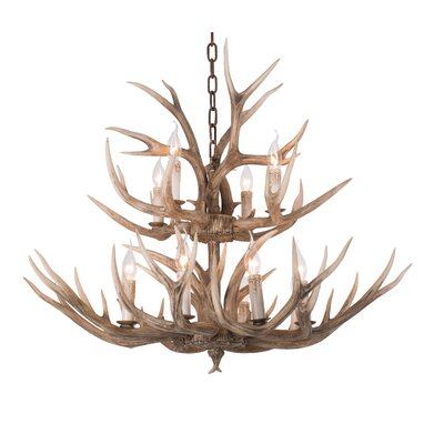 Polyresin Antler 2 Tier 12-Light Candle-Style Chandelier