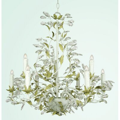 RT Series 9-Light Candle-Style Chandelier Finish: Two Tone Green