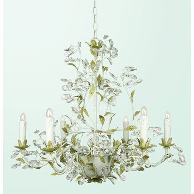RT Series 6-Light Candle-Style Chandelier Finish: Two Tone Green