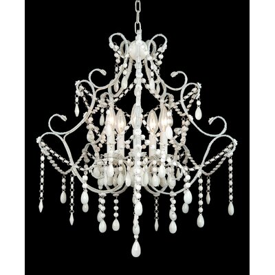 ET Series 5-Light Candle-Style Chandelier Finish/Glass Color: White/White