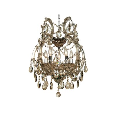 5-Light Crystal Chandelier Crystal Color: Champagne