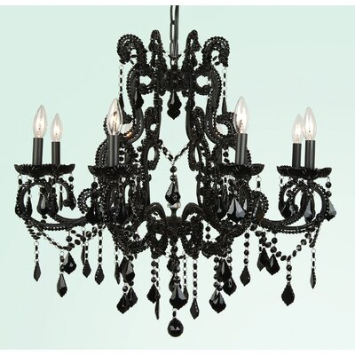 ET Series 8-Light Candle-Style Chandelier Size/Finish/Glass Color: 28