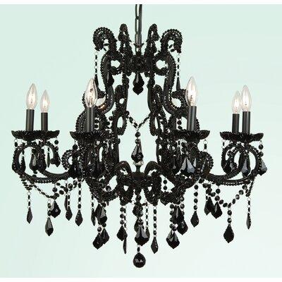 ET Series 8-Light Candle-Style Chandelier Size/Finish/Glass Color: 28 H x 29 W x 29 D/Black/Black