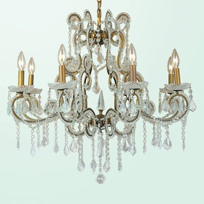 ET Series 8-Light Candle-Style Chandelier Size/Finish/Glass Color: 26