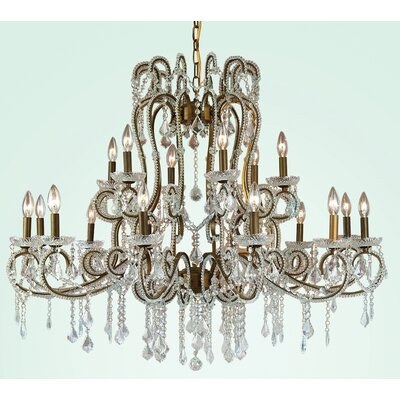 ET Series 18-Light Crystal Chandelier Size/Finish/Glass Color: 29 H x 38 W x 38 D/Gold/Clear