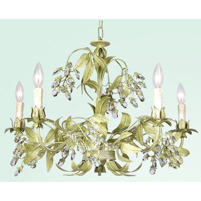 FAL Series 5-Light Candle-Style Chandelier Finish: Antique Green
