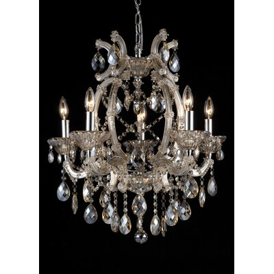 5-Light Crystal Chandelier Finish: Gold Teak