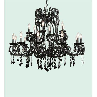 ET Series 18-Light Crystal Chandelier Size/Finish/Glass Color: 39 H x 38 W x 38 D/Black/Clear