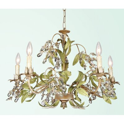 FAL Series 5-Light Candle-Style Chandelier Finish: Beige/Green