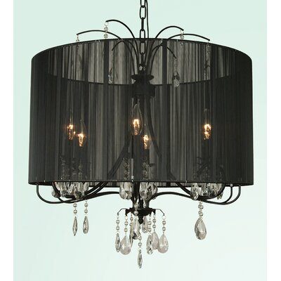 ET Series 6-Light Drum Chandelier Type: 20.1 H x 22.8 W x 22.8 D / Black/Black/Clear