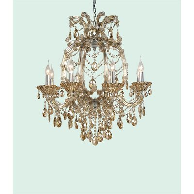 4307 Series 8-Light Candle-Style Chandelier Crystal Color: Champagne