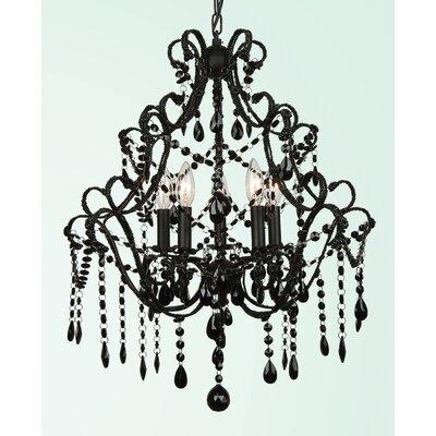 ET Series 5-Light Candle-Style Chandelier Finish/Glass Color: Black/Black