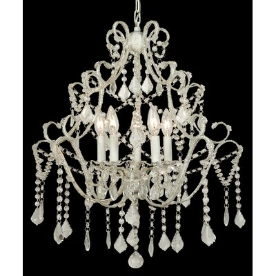 ET Series 5-Light Candle-Style Chandelier Finish/Glass Color: White/Clear