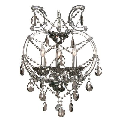 4307 Series 3-Light Mini Chandelier Crystal Color: Smoke