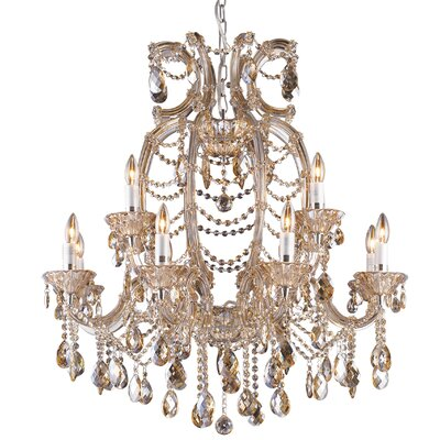12-Light Crystal Chandelier Crystal Color: Champagne
