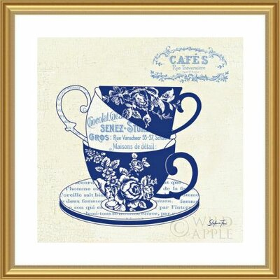 'Blue Cups III' by Stefania Ferri Framed Graphic Art 488438S61:GLD,CW,WTW