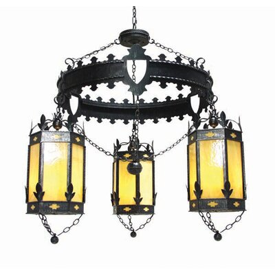 Valhalla 3-Light Shaded Chandelier Finish: Blackened Pewter