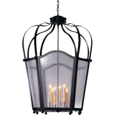 Citadel 6-Light Foyer Lantern Finish: Coffee Bean, Acrylic: Lapis Blue