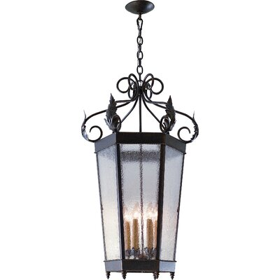 Regency 6-Light Foyer/Lantern Pendant Finish: Antique Rust, Shade Type: Lapis Blue