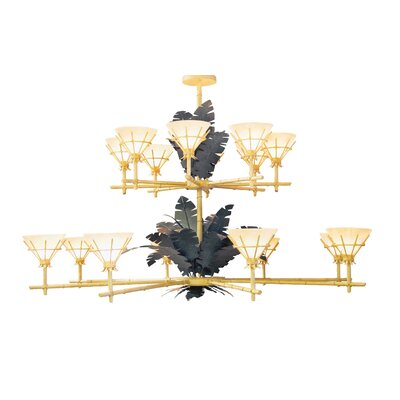 Tiki 16-Light Shaded Chandelier Finish: Blackwash