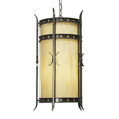 Stanza 4-Light Foyer Lantern Finish: Golden Verde, Shade Color: Lapis Blue