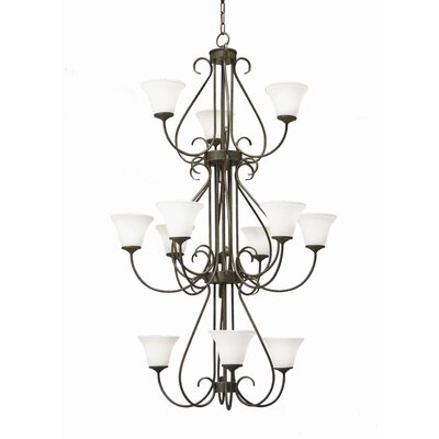 Jacqueline 12-Light Shaded Chandelierv Finish: Antique Rust