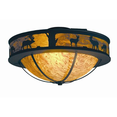 Savannah 3-Light Flush Mount Finish: Tuscan Ivory, Acrylic: Lapis Blue