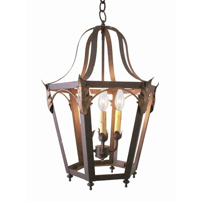 Acacia 4-Light Foyer Lantern Finish: Rustic Iron, Acrylic: Lapis Blue
