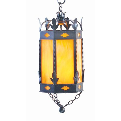 Valhalla 3-Light Foyer Light Finish: Antique Rust, Shade Color: Lapis Blue