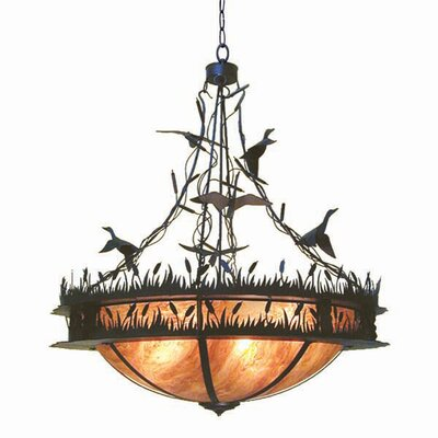 Ducks In Flight 8-Light Inverted Pendant Finish: Corinth