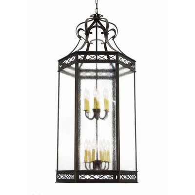 Estancia 12-Light Foyer Pendant Finish: Rustic Iron, Acrylic: Lapis Blue
