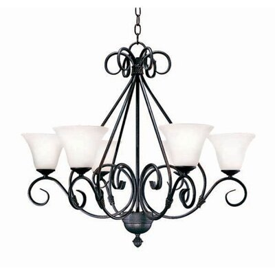 Olivia 6-Light Shaded Chandelier Finish: Pewter
